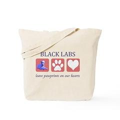 Black Lab Pawprints Tote Bag