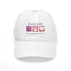 Black Lab Pawprints Baseball Cap