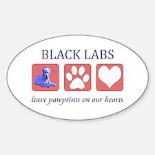 Black Lab Pawprints Sticker (Oval)