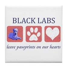Black Lab Pawprints Tile Coaster