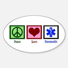 Peace Love Paramedic Sticker (Oval)