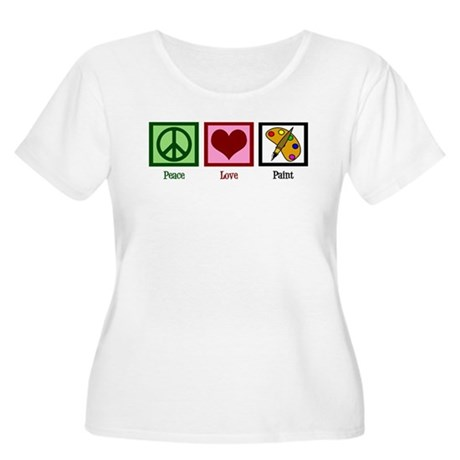Peace Love Painting Women's Plus Size Scoop Neck T