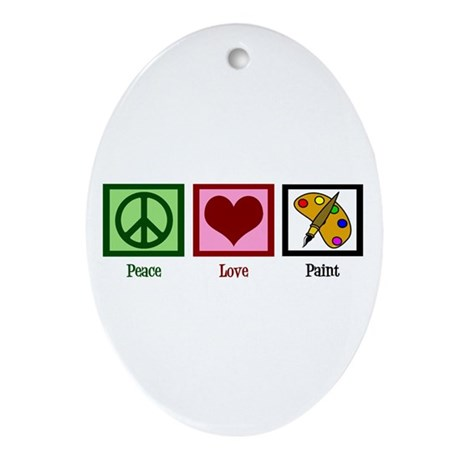 Peace Love Painting Ornament (Oval)