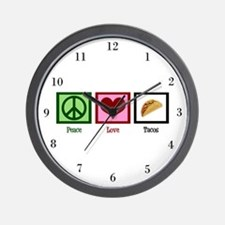 Peace Love Tacos Wall Clock