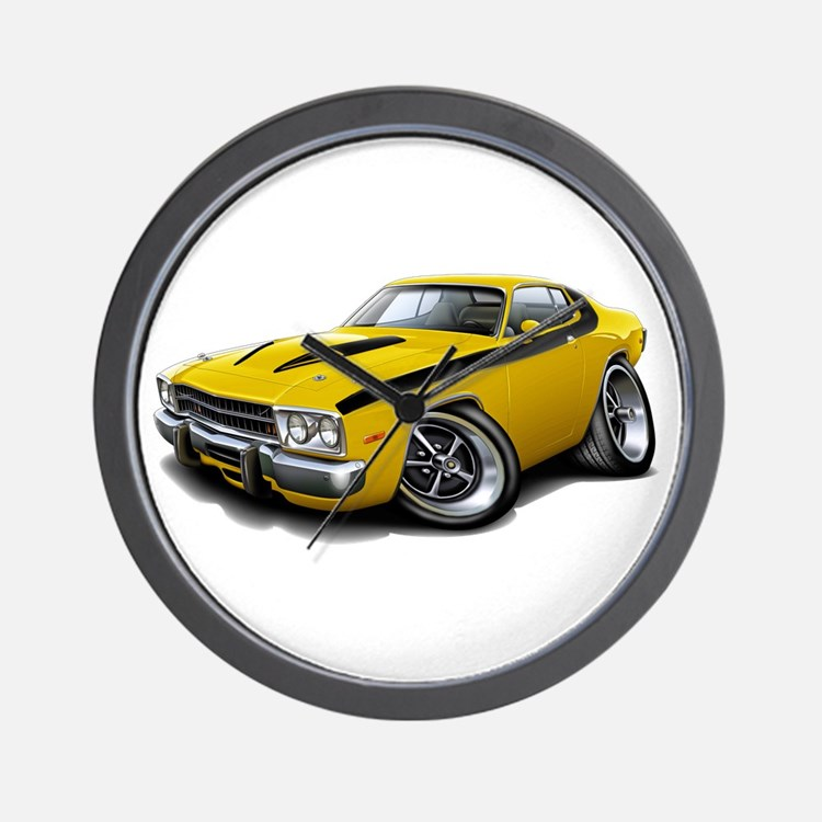 Roadrunner Yellow-Black Car Wall Clock
