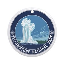 Yellowstone Travel Souvenir Ornament (Round)