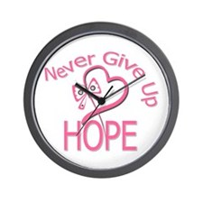 Never Give Up Hope Breast Can Wall Clock