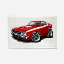 Roadrunner Red-White Car Rectangle Magnet (10 pack