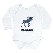 Retro Alaska Moose Long Sleeve Infant Bodysuit