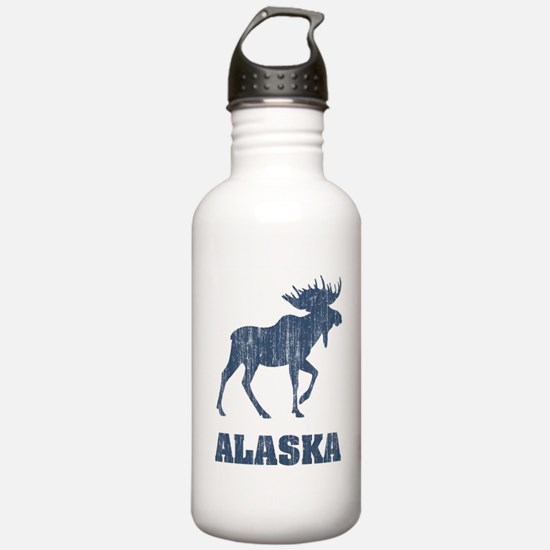 Retro Alaska Moose Sports Water Bottle
