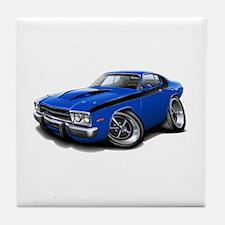 Roadrunner Blue-Black Car Tile Coaster