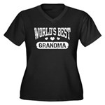 World's Best Grandma Women's Plus Size V-Neck Dark