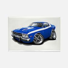Roadrunner Blue-White Car Rectangle Magnet