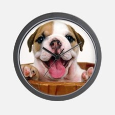 HAPPY BULLDOG PUPPY Wall Clock
