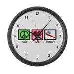 Peace Love Dentistry Large Wall Clock