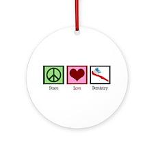 Peace Love Dentistry Ornament (Round)