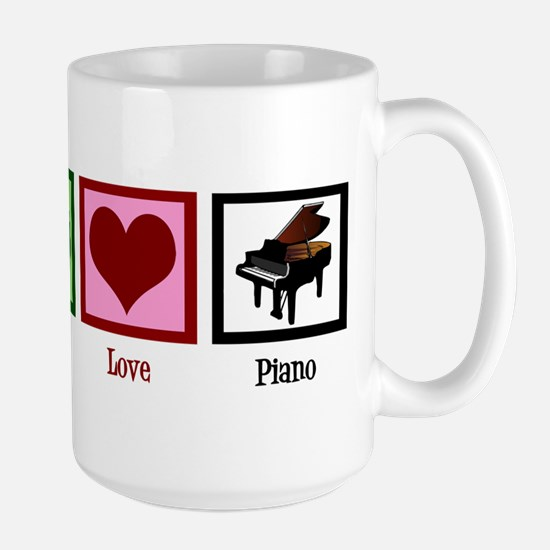 Peace Love Piano Large Mug