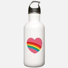 80s Rainbow Heart Water Bottle
