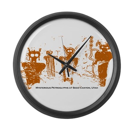 Sego Canyon Glyphs Large Wall Clock