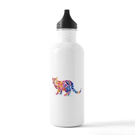 Whimsical Cat Kitten Art Stainless Water Bottle 1.