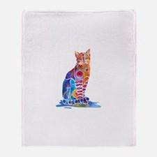 Whimsical Elegant Cat Throw Blanket