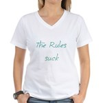 The Rules Suck Women's V-Neck T-Shirt