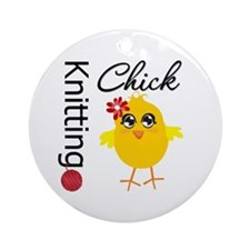 Knitting Chick Ornament (Round)