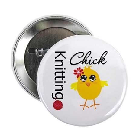 "Knitting Chick 2.25"" Button"