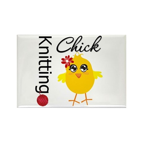 Knitting Chick Rectangle Magnet (10 pack)