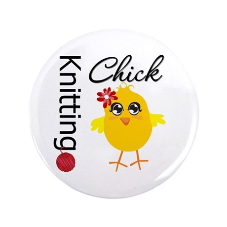 "Knitting Chick 3.5"" Button (100 pack)"
