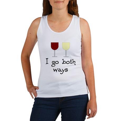 I Go Both Ways Red White Wine Women's Tank Top