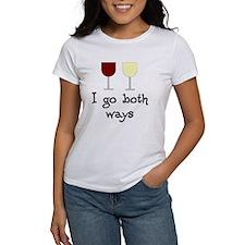 I Go Both Ways Red White Wine Tee