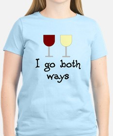 I Go Both Ways Red White Wine T-Shirt