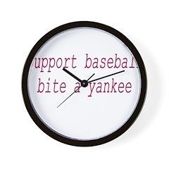 Support Baseball Bite A Yanke Wall Clock