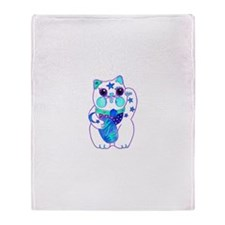 Beckoning Cat in Blue Throw Blanket