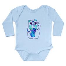 Beckoning Cat in Blue Long Sleeve Infant Bodysuit