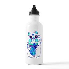 Beckoning Cat in Blue Water Bottle