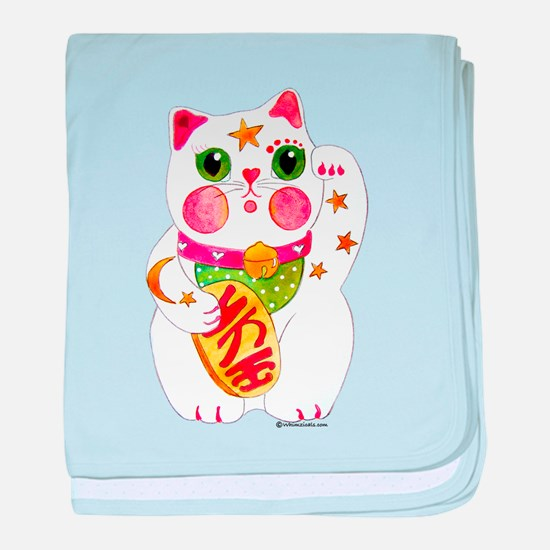 Lucky Beckoning Cat baby blanket