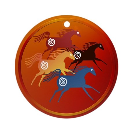 Four Ancient Horses Ornament (Round)