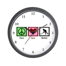 Peace Love Hockey Wall Clock