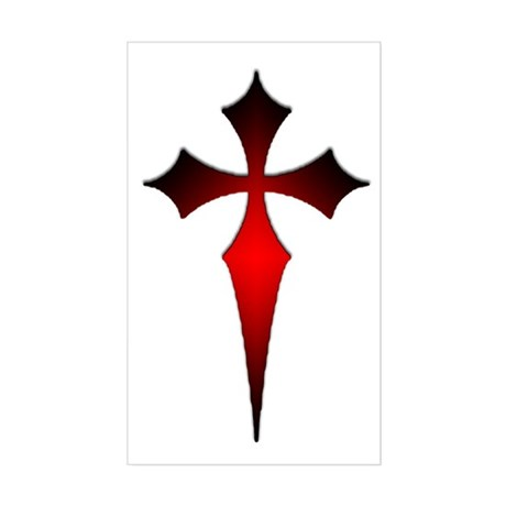 Gothic Fitchy Cross Rectangle Sticker
