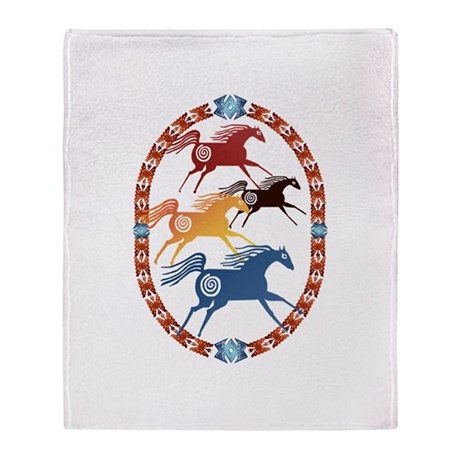 Four Ancient Horses Throw Blanket