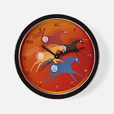Four Ancient Horses Wall Clock