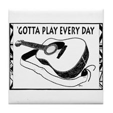 Play A Guitar Tile Coaster