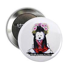 """Geisha Westie Dog 2.25"""" Button"""