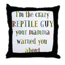 crazy reptile guy Throw Pillow