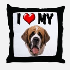 I Love My St. Bernard Throw Pillow