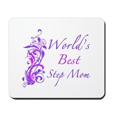 World's Best Step Mom (Floral) Mousepad