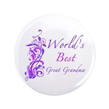 "World's Best Great Grandma (Floral) 3.5"" Button"