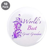 """World's Best Great Grandma (Floral) 3.5"""" Button (1"""